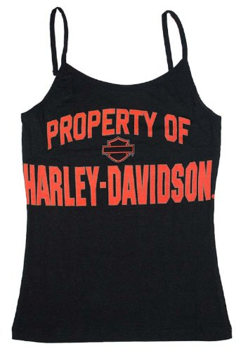 Harley-Davidson® Women's Collegiate Cami Top Shirt. Black. Printed Property of Harley-Davidson. Graphics on Front. 86078