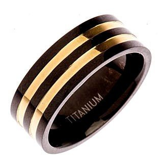 Titanium Black & 18k Gold Plated Wedding Ring Band Comfort Fit 8mm Size 9