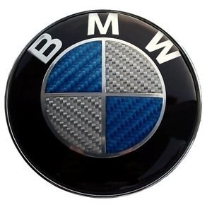 BMW Blue Silver Carbon Fiber Emblem Badge Logo for Hood Front & Trunk Rear 82mm 3.23 inch, 2 pins at the back (Bmw Logo Hood compare prices)