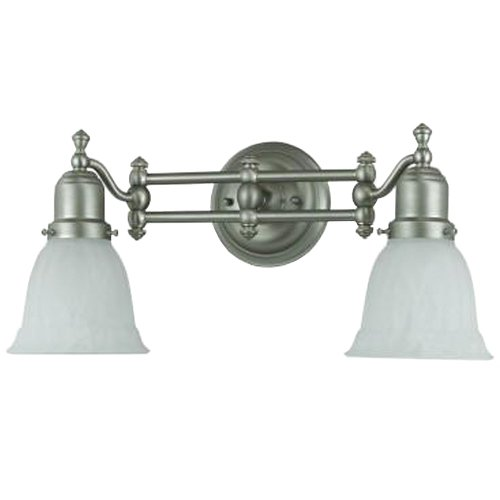 Cal Lighting LA 192 METAL Bath Vanity with Frosted Glass Shades Brushed Steel Finish - Gilbert M ...