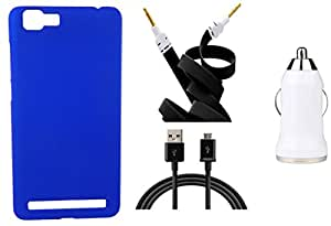 Toppings Hard Case Cover With Car Charger,Data Cable & Aux Cable For Vivo X5 Max - Blue