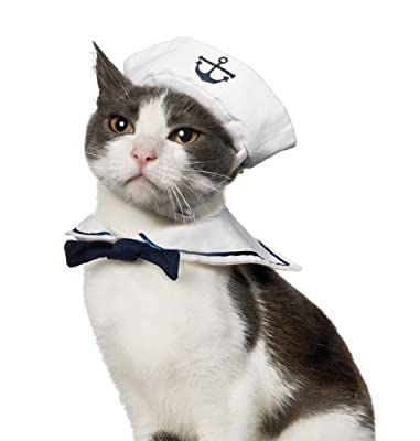 Vedem Cat Small Dog Sailor Adjustable Outfit Costume Hat & Cape