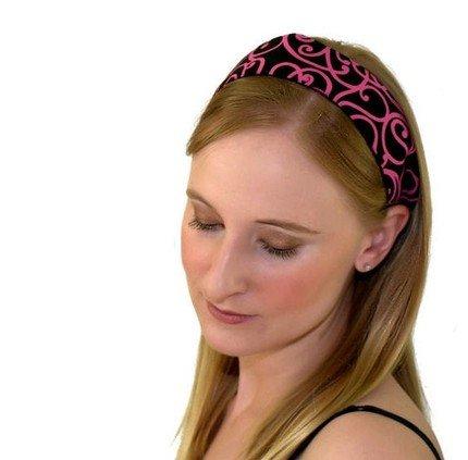 Skinny Headband, Hot Pink Swirls Over Deep Black, Beautiful Headband By Bargain Headbands