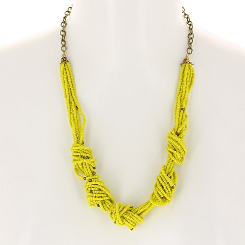 Yellow Beads Cluster Necklace Indian Costume Jewellery Fashion