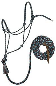 Weaver Leather Silvertip #95 Rope Halter with 12-Feet Lead, Brown/Turquoise, Average