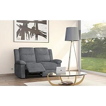 RELAXO sofá fijo 2 plazas, 93 x 96 x 144-Paño de microfibra, color Gris