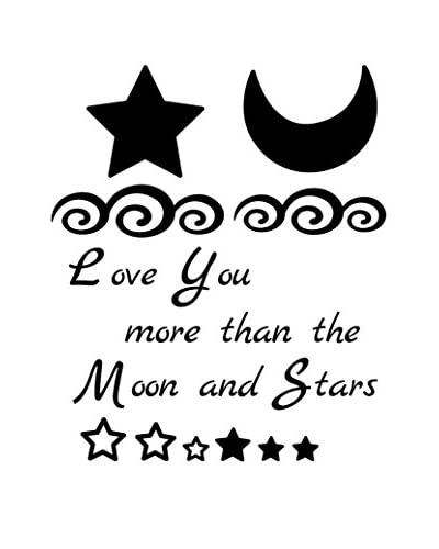 "Ambiance Live Vinilo Decorativo ""Love you more"" - Moon and stars with 15 adhesive Swarovsk..."