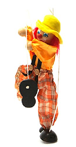 Hot-Sale-Childrens-Wooden-Marionette-Toys-Colorful-Clown-Doll-Parent-Child-Interactive-Toys-Yellow