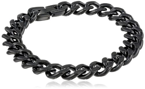 Men'S 12Mm Curb Black Ion Plated Stainless Steel Chain Bracelet