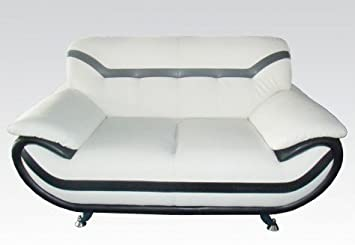 Rozene White/Black Bonded Leather Loveseat by Acme Furniture
