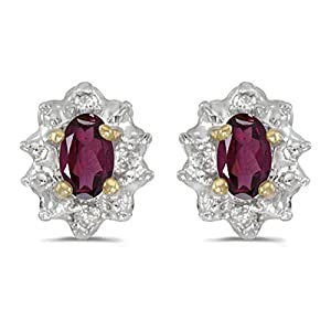 Diamond and 5 x 3 MM Oval Shaped Rhodolite Garnet Earrings in 14K Yellow Gold (0.01 cttw)