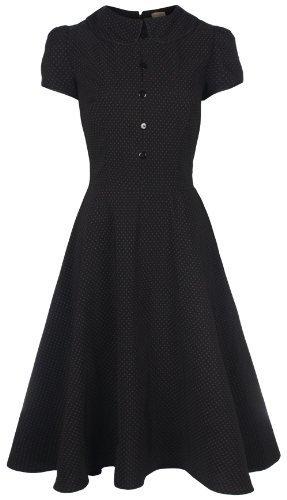 Lindy Bop 'Rhonda' Vintage Victorian Style Black Polka Dot Peter Pan Collar Tea Dress (22, Black)