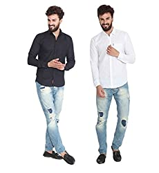 Pelican's Pack Of 2 Black & White Slim Fit Casual 100% Cotton Shirt