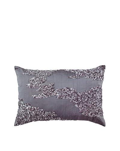 Bandhini Homewear Design Sequined River Lumbar Pillow, Violet/Grey