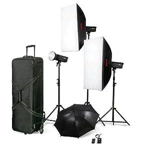 """LEINOX 3x 600WS Studioblitz Set """"Taurus"""", 3x Blitz TC-600 / 3x Lampenstativ XL / 2x Softbox / 1x Reflexschirm / 1x Funk-Blitzauslöser Set / 1x Koffer (hergestellt von Godox)"""