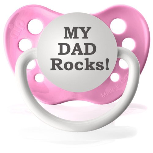 Personalized Pacifiers My Dad Rocks Pacifier in Pink - 1
