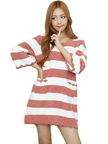 [LUCE miraco] Womens Nightgown Comfort Cotton Sexy Sleepwear Pajamas Nightdress (Red)