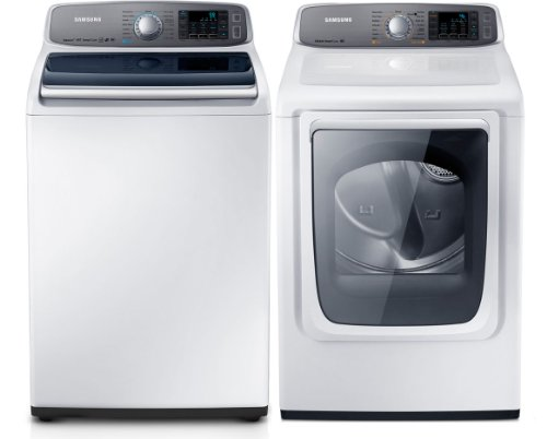 samsung neat white 50 cu ft top load washer and 74 cu ft steam electric dryer