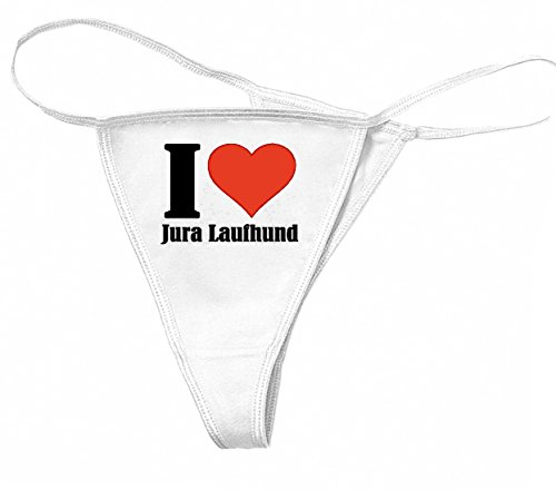 """Damen String-Tanga""""I Love Jura Laufhund""""Größe""""XL""""Farbe""""Weiss""""Druck""""Schwarz"""