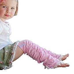 Huggalugs Girls Vintage Smitten Pink Lace Legruffle Legwarmers