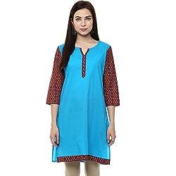 Rangmanch by Pantaloons Women's Cotton Kurta( 205000005576532_Blue_Medium)