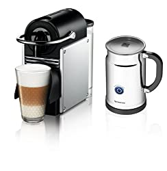 Nespresso Pixie Espresso Maker With Aeroccino Plus Milk Frother, Aluminum made by Nespresso