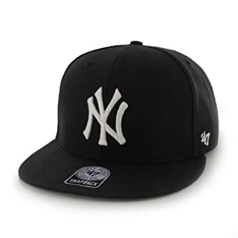 MLB New York Yankees Black and White Wool Blend Original Fit Flat Brim Snapback by