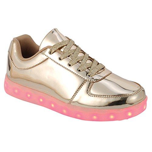 Coshare Women's Fashion USB Charging LED Light Up Rave Flashing Sneakers, Gold, 8 M US
