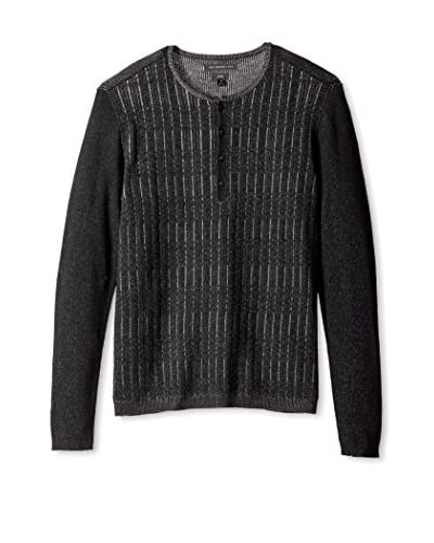 John Varvatos Star USA Men's Grid Stitch Long Sleeve Henley Sweater