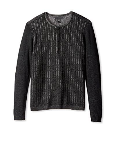 John Varvatos Star U.S.A. Men's Grid Stitch Long Sleeve Henley Sweater