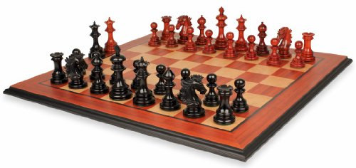 Wellington Staunton Chess Set in Ebony & African Padauk with Molded Padauk Chess Board - 4.25