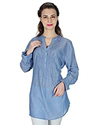 Miway Women's Embroided W/ Beeds Cotton Blue Tunic (Blue, Small)