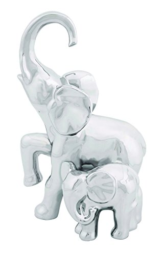 Benzara 92878 Solid Ceramic Elephant With Baby Decor For Modern Look In Silver front-577331