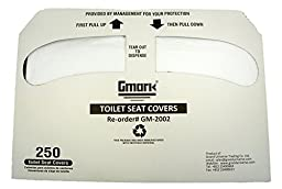 Gmark Toilet Seat Covers Disposable Half-Fold 1000 per Case (4 Packs of 250) GM2002
