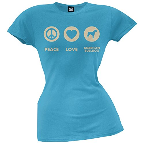 Peace Love American Bulldog Juniors T-Shirt - X-Large (American Bulldog For Sale compare prices)