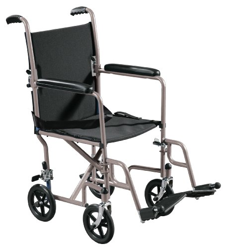 Drive Medical Lightweight Steel Transport Wheelchair, Fixed Full Arms, 19″ Seat