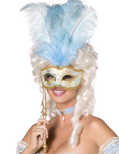 Venezianische Stab Maske mit Federn blau