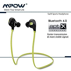 MPOW Swift Bluetooth 4.0 Wireless Sport Headphones BlackGreen for all Mobile Phones