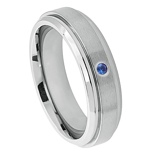 0.05Ct Solitaire 6Mm Flat Brushed Center Stepped Edge Titanium Comfort Fit Blue Sapphire Wedding Band For Her And For Him.