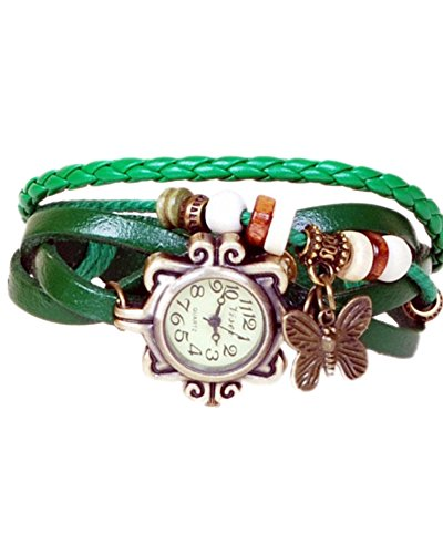Young & Forever Wedding Special Elegant Green Leather Vintage Butterfly Bracelet Watch For Women By CrazeeMania