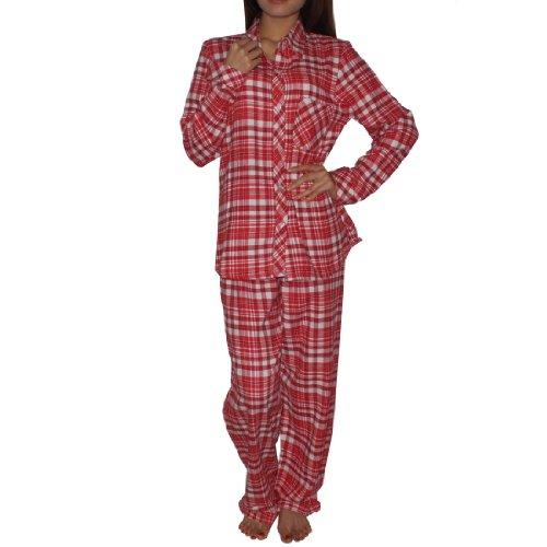 2PC SLEEPWEAR SET: Womens Comfortable Fit Gorgeous Pajama / Loungewear Set - Red & White