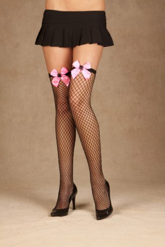 Elegant Moments 1823 Diamond net thigh hi with satin bow and embroidered spider.