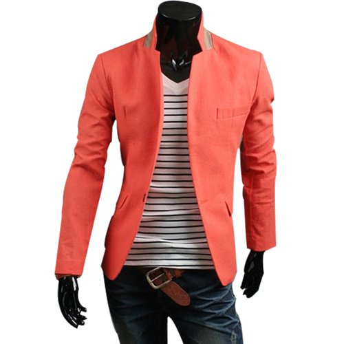 Whatwears Mens Slim Fit Casual Business Stylish Suit Blazer Coat Jacket (M, Orange)