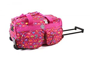 Womens Floral Design Hot Pink Love Hearts 20 Twin Handle Wheeled Holdall Weekend Bag Maternity Bag Hospital Bag Baby Bag 20 Inch Wheelie Bag Holdall Size 20 X 105 X 125 Inches 43 Litres Ideal Travel Flight Bag Cabin Bag Holiday School College Sport Gym Ba