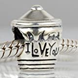Evebling I Love You Hunny Pot Authentic 925 Sterling Silver Charm Fits Pandora Charm Chamilia Biagi Troll Beads Europen Style Bracelets