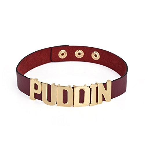 """Yumei Harley Quinn girocollo Suicide Squad Puddin collare collana 14.17"""", base metal, colore: Wine, cod. NCL-12-3"""