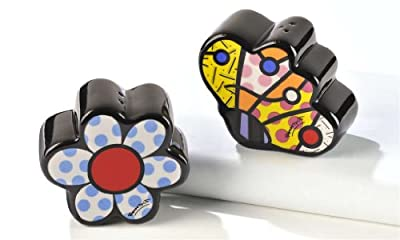 Romero Britto Flower & Butterfly Salt & Pepper Shaker by Giftcraft by Romero Britto