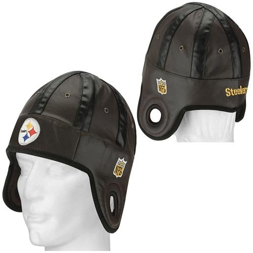 This officially licensed Pittsburgh Steelers Faux Leather Helmet Head cap  is decorated in the team colors 0ae8ce133b44