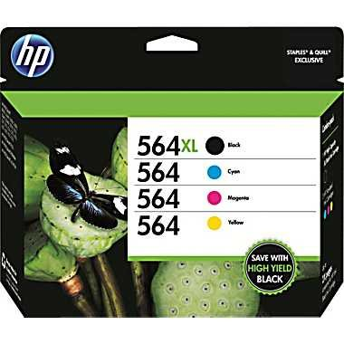HP 564XL Black 564 Color Ink Cartridges Combo Pack (HP 564XL Black and 564 Regular Cyan, Magenta and Yellow)