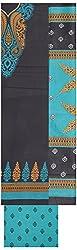 Shrumani Global Women's Cotton Unstitched Dress Material (SG017, Black & Sea Green)